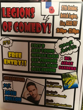 Legions Of Comedy 8pm Sat 27th Oct 2018