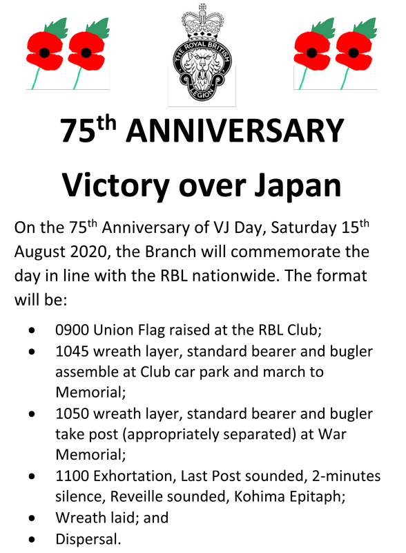 VJ DAY 15 AUG 20 COMMEMORATION